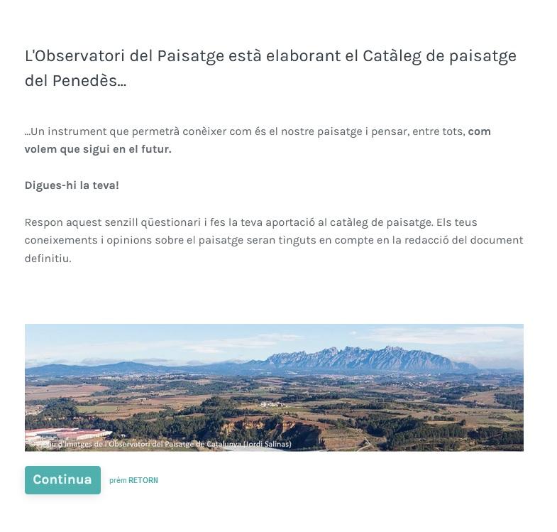 Encuesta web Catálogo de Paisaje del Penedès